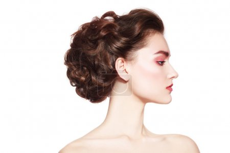 Beautiful profile with prom hairdo
