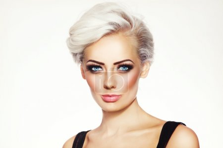 Platinum blond woman with stylish make-up