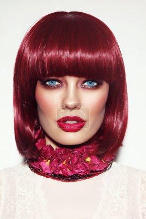 fashion redhead woman with bob haircut