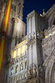 Cathedral of toledo at night, beautiful building with big doors