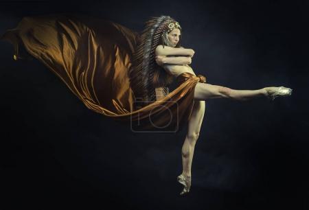 american indian woman dancing