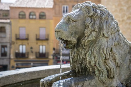Bronze fountain with lion shape, City of Segovia, famous for its Roman aqueduct, in Spain