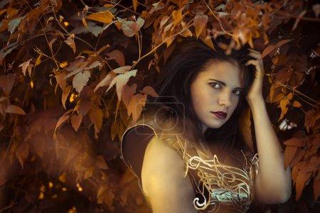 Photo pour Fée de la forêt, belle brunette femme portant corset or et de cuivre dans des poses déesse et guerrier. concept de fantaisie et d'imagination - image libre de droit