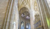 Gothic arches of christian church interior, City of Segovia, famous for its Roman aqueduct, in Spain
