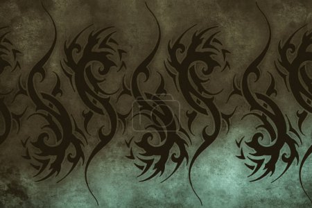 Tattoo design over grey background. textured backdrop. Artistic image