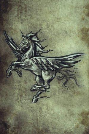 Foto de Sketch del tatuaje, diseño hecho a mano sobre papel vintage - Imagen libre de derechos