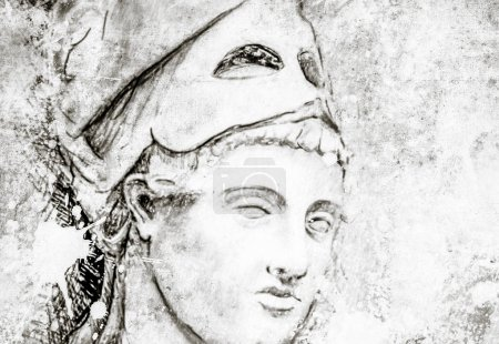 Photo for Sketch made with digital tablet of general pericles on vintage paper, handmade illustration - Royalty Free Image
