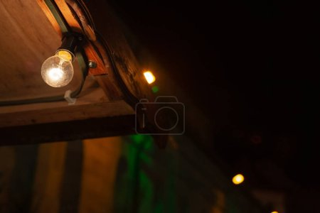 Photo for Led lights on xmas market in advent december winter month - Royalty Free Image