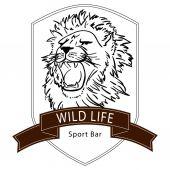 lion wild life logo on white