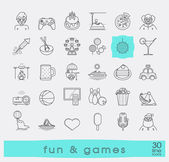 Set of premium quality line fun and games icons