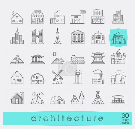 Buildings and architecture icons set.