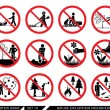 Collection of prohibition signs. Signs prohibiting...