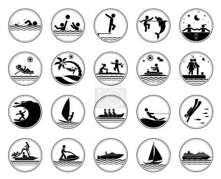 Set of vacation at the sea icons