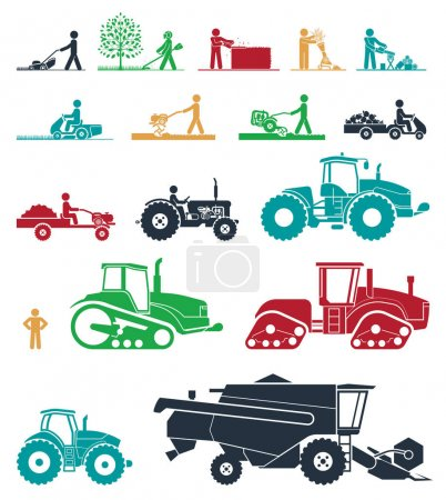 Set of different types of agricultural vehicles and gardening machines