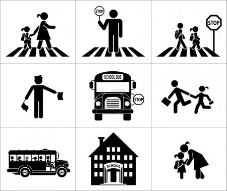 Illustration for Children go to school. Pictogram icon set. Crossing the street. - Royalty Free Image