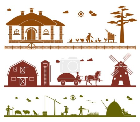 Set of pictogram icons presenting various work on the farm.