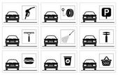 Collection of premium quality pictograms for gas station
