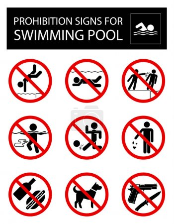 Set of prohibition signs and rules for swimming pool