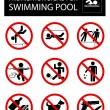 Collection of signs that forbid certain objects or...