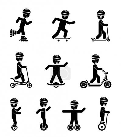 Set of pictograms representing children riding all sorts of mode