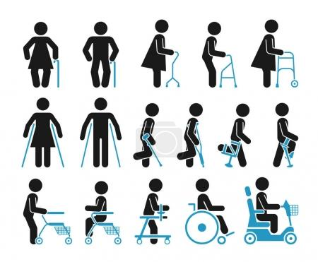 Set of icons which represent people using various orthopedic equ