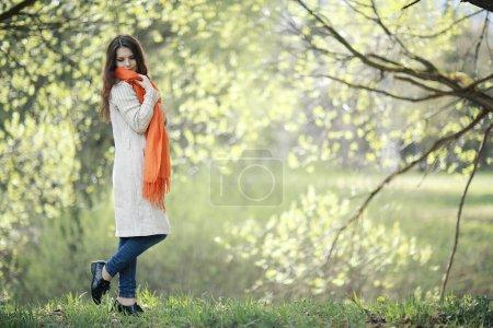 Girl enjoying spring in park