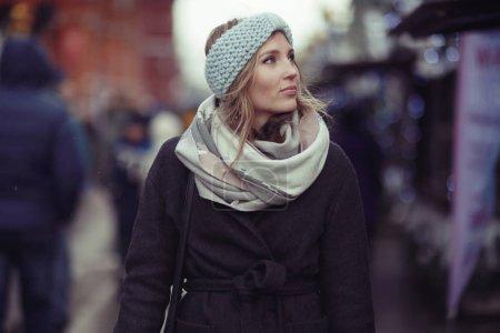pensive woman on winter