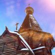 Old church in the village in winter...