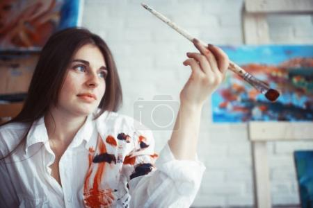 young beautiful female artist