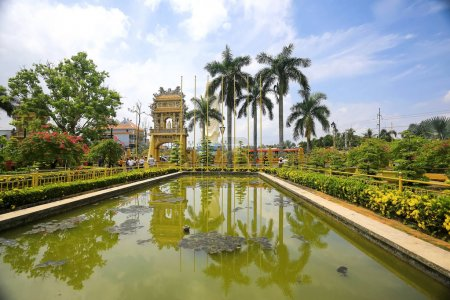 Garden with an arch in Asia