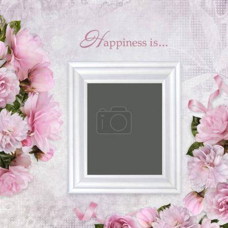 Photo pour Vintage fond avec cadre et rose roses - image libre de droit