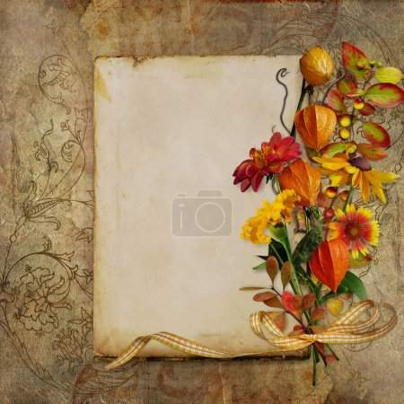 Photo pour Vieille carte rétro avec place pour le texte et bouquet de couleurs d'automne sur fond vintage porté - image libre de droit