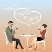 Couple office workers or business people drinking coffee enjoy your morning vector illustration
