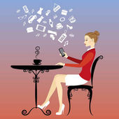 Girl is drinking coffee and on the Internet via a smartphone vector illustration