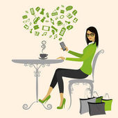 Fashionable girl drinking coffee after shopping and the Internet with a smartphone vector illustration