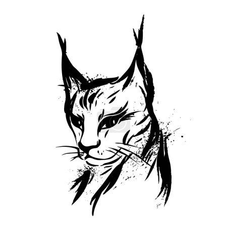 Illustration pour Lynx. Chat sauvage. Prédateur. Tiré à la main. Noir et blanc. Stylisé. Décoratif. Vecteur - image libre de droit