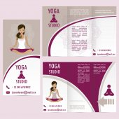 Cards for Woman yoga studio with paisley ornament and  girl in lotus asana banner or brochure template  vector illustration