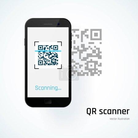 QR scanner. Mobile scans QR code. Vector illustration