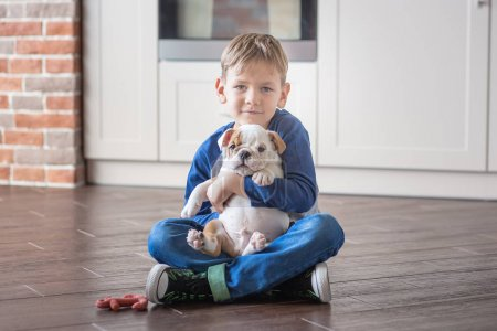 Cute boy playing with puppy english bulldog