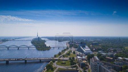Riga, Latvia. Riga Cityscape In Sunny Summer Day.