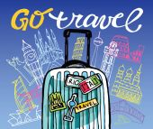 Hand drawn doodle travel illustration Go travel!