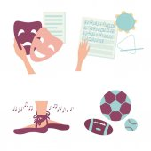 Hobby activities Icons for various clubs including ballet sport soccer rugby music and theater or drama Images of four different hobbies isolated on white background