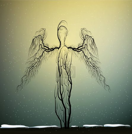 Tree silhouettes looks like an angels, people like...