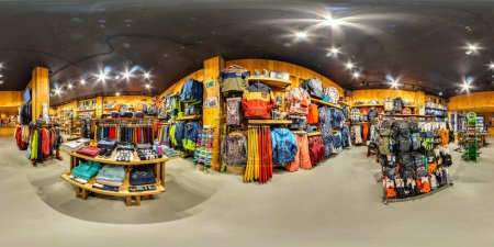 Photo for MOSCOW RUSSIA DECEMBER 21 2017  Shop sporting goods for active and extreme sports. Snowboards, skis, bicycles, skateboards. 3D spherical panorama, 360 viewing angle. Full equirectangular projection. - Royalty Free Image