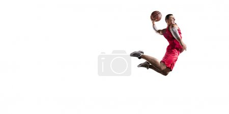 Basketball players on a white background