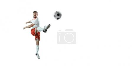Soccer player on a white background