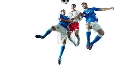 Soccer players on a white background