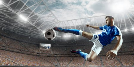 Photo for Soccer player performs an action play on a professional stadium. All player wear unbranded clothes. The stadium is made in 3D. - Royalty Free Image
