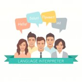 interpreter with speech bubbles in different languages