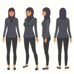 Muslim woman at work, vector arab business charact...